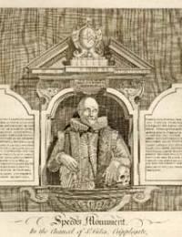 Engraving of monument for John Speed I
