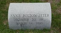 Annie Bolton Jeter - Gravestone