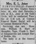 Gladys Snow Jeter - Obituary